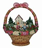 Jim Shore for Enesco 7-1/4-Inch Easter Diorama Featuring a Church, Bunnies, and Woodlands in a Decorated Easter Basket