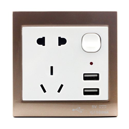Asunflower® Home Multifunction Wall Power Supply Usb Socket Switch With Usb Port Interface (Grey)