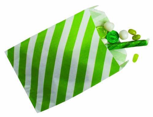 Party Partners Design 12 Count Christmas Paper Favor Bags, Lime Stripe