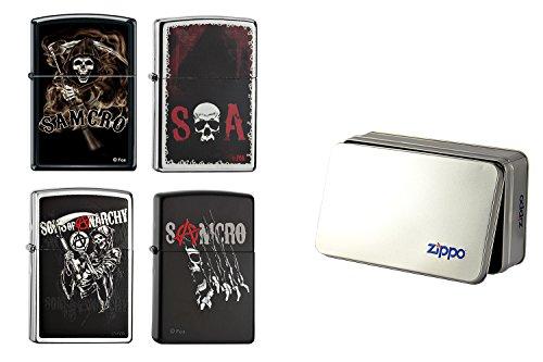 """Zippo-Accendino 15085 2015, motivo: """"Sons of Anarchy"""", in scatola di latta (Confezione da 4 pezzi, collezione Special Edition, parte numero 2,004.000,7"""
