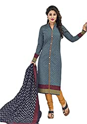 Sree Impex Women's Cotton Unstitched Dress Material (SI-CO-43_Grey_Free Size)
