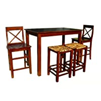 D-ART Kitchen Counter Dining Set - in Mahogany Wood
