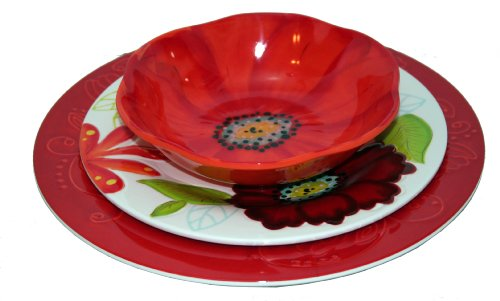 Laurie Gates ~ Flora: 12PC Melamine Dinnerware Set
