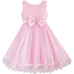 DZ63 Sunny Fashion - Vestito tinta unita, bambina, rosa 6 anni