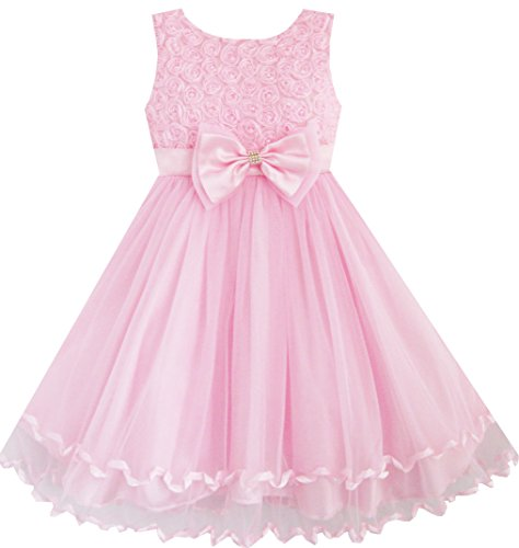 Sunny Fashion Big Girls Dress Rose Bow Tie Belt Wedding Birthday Party, Pink, 7-8