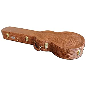 Spider Shaped Les Paul Guitar Flight Case With Brown Crocodile Finish