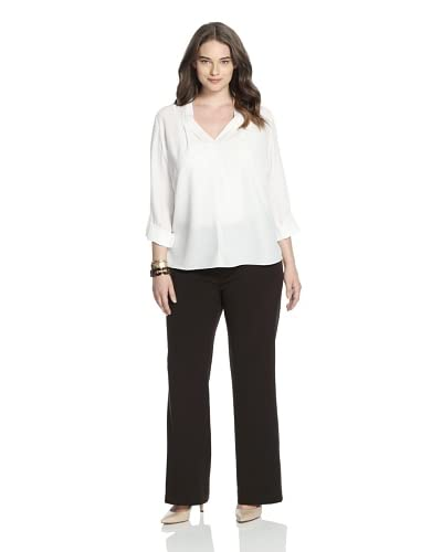 NYDJ Women's Plus Double-Button Trousers  [Chocolate]