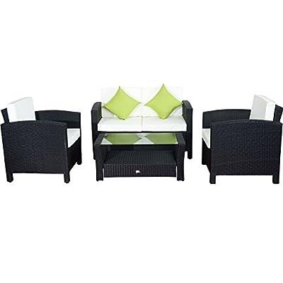 Outsunny 4pcs Rattan Garden Furniture Set Outdoor Patio Wicker Weave Conservatory Sofa Black