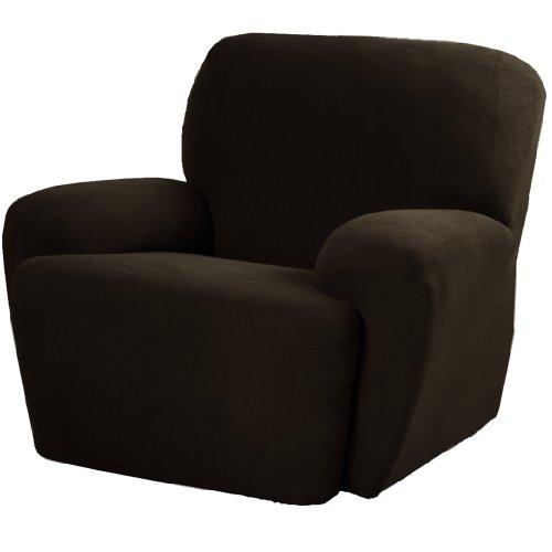 Maytex Pixel Stretch 4-Piece Slipcover Recliner, Chocolate front-930381