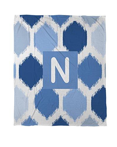 Thumbprintz Duvet Cover, Twin, Monogrammed Letter N, Blue Batik front-474420