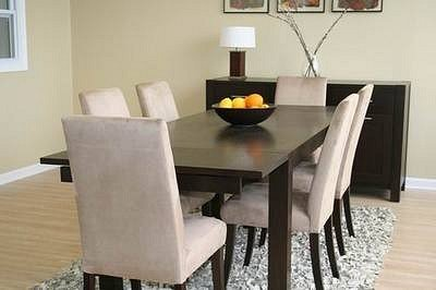 Cheap 8PCS Contemporary Parson Chair Dining Table Set & Buffet Cabinet (VF_WI-Tessa-din-set)