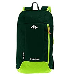 QUECHUA Kids Outdoor Travel Backpack For Hiking Camping Children Cute Hiking Daypack Colorful School Bags Patchwork Bookbags Mini Small Back Packs Rucksack 10L (Green)