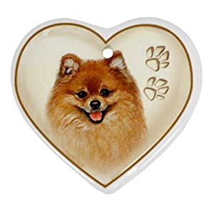 POMERANIAN Dog Heart Shaped Porcelain Ornaments or Wall Decor