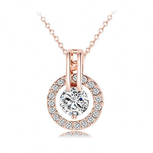 18k-rose-gold-plated-autrian-crystal-circle-necklace-pendant-with-18-chain-christmas-jewelry-gift