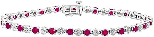 Naava Round Brilliant 9ct White Gold 3.50ct Ruby and Diamonds 0.63ct Tennis Bracelet of 18.1cm