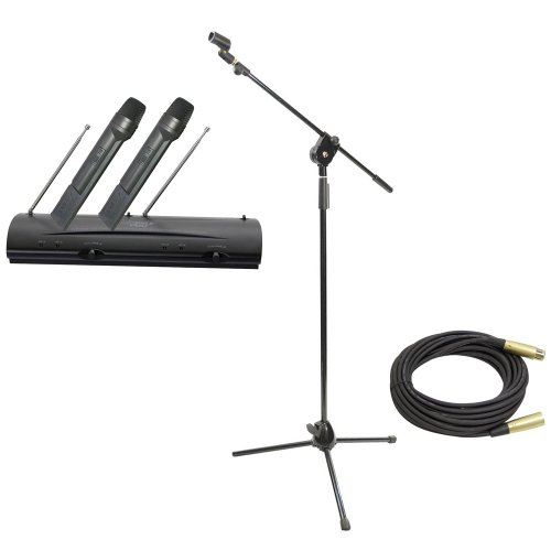 Pyle Mic And Stand Package - Pdwm2100 Professional Dual Vhf Wireless Handheld Microphone System - Pmks3 Tripod Microphone Stand W/ Extending Boom - Ppmcl50 50Ft. Symmetric Microphone Cable Xlr Female To Xlr Male