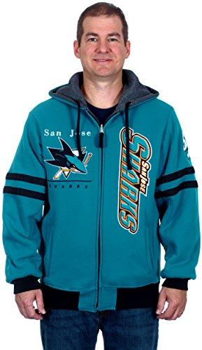 NHL San Jose Sharks Men's Duel Edge Reversible Heavyweight Fleece Hoodie (2X)