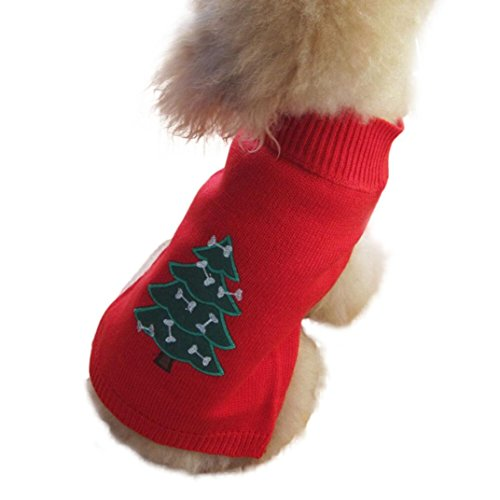 Outtop Dogs Cold Weather Knitted Turtle Neck 3D Patterns Christmas Sweater for Small-sized Dogs Dachshund, Poodle, Pug, Chihuahua, Shih Tzu, Yorkshire Terriers, Papillon (S_Chest: 14.2-15.7