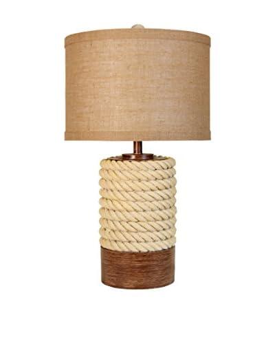 StyleCraft Post 1-Light Table Lamp, Jute/Natural
