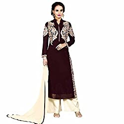 Charming Brown and Cream Coloured Embroidered Semi-Stitched Georgette Salwar Suit With Dupatta