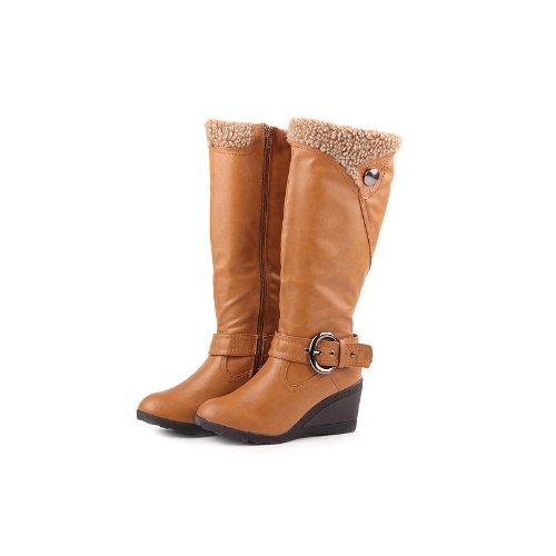 Reneeze K-ADDIE-3 Kids Wedge Mid-Calf Winter Boots- Tan