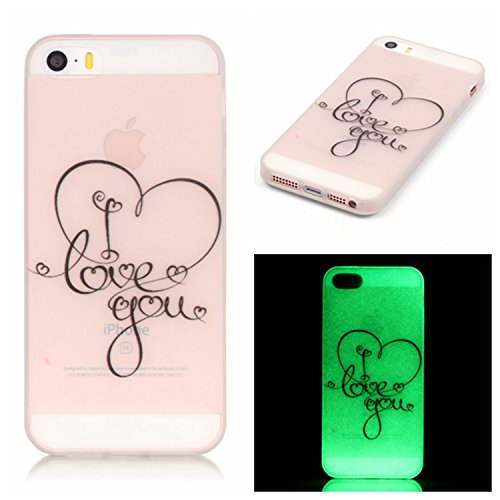 SMARTLEGEND Morbido Custodia per iPhone 5 / 5S / SE, Ultra Slim Nottilucenti Luminoso Flessibile TPU Silicone Protettiva cassa del telefono, Transparente Back Bumper Cover Case Disegno Bella con LED Lampeggiante Glow in the Dark - Love you