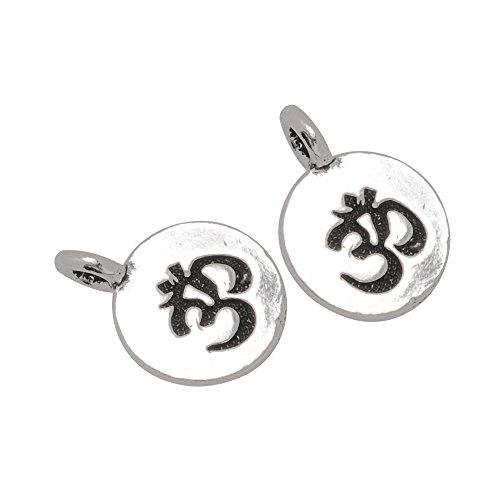 20PCS 11.5*16mm Round Om Charms, Yoga Charms Buddha Charm,Antique Silver
