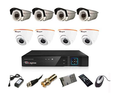 Tentronix T-8ACH-8-DBA10 8-Channel AHD Dvr, 4(1MP/36IR) Dome, 4(1MP/36IR) Bullet Cameras (With Accessories)