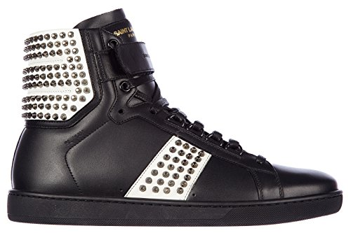 Saint Laurent Paris scarpe sneakers alte uomo in pelle nuove wolly studs nero EU 42.5 361275AQI10 1090