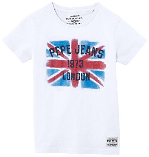 Pepe Jeans Jungen T-Shirt, DAMIAN, GR. 176 (Herstellergröße: 16 ans), Weiß (Optic White)