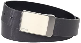 Kenneth Cole REACTION Men's Reversible Cut Edge Belt With Embossed Line Detail,Black/Black,38