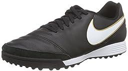 Nike Men\'s Tiempo Genio II Leather TF Turf Soccer Cleat (Sz. 10) Black
