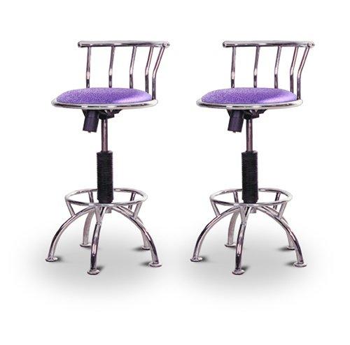 "2 24""-29"" Glitter Lavender Seat Chrome Adjustable Specialty / Custom Barstools Set"