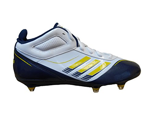 adidas AS SMU SuperCharge Mid D M Men`s Football Cleats (12.5, White/Yellow-Navy)