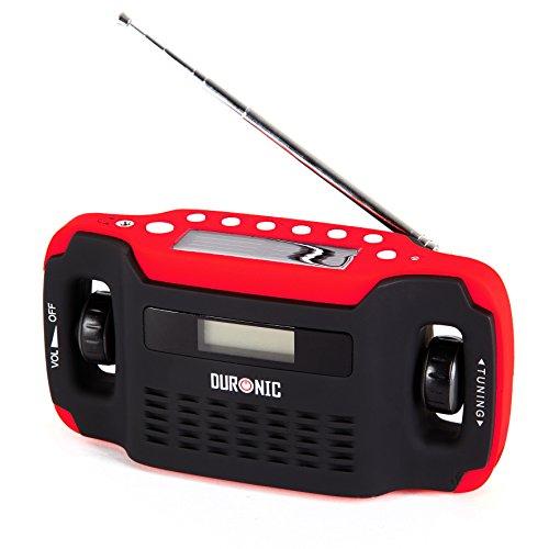 Duronic Apex - Radio con display digitale a energia solare con funzione ricarica manuale con dinamo; sveglia, orologio, torcia, funzione di ricaricatore
