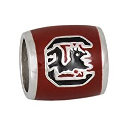 Teagan Collection University of South Carolina Gamecocks Black C on a Garnet Bead