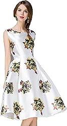 hk fashion satin fabrics digital print white green flowers western dress