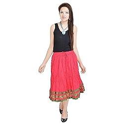 Prateek Retail Rajasthani Short Pink Skirt
