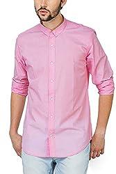 Bewakoof.com Light Pink Slim Fit Full Sleeve Men's Casual Shirts