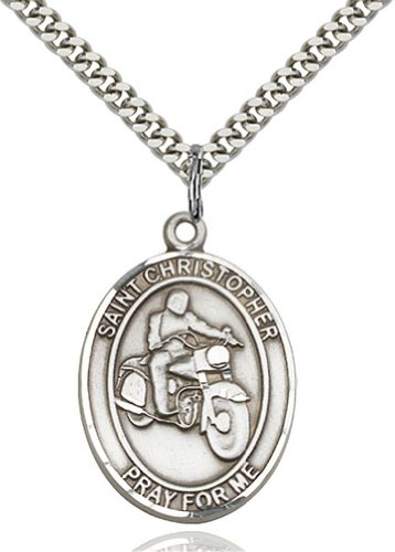 Men's St. Christopher Motorcycle Sterling Silver Medal with 24