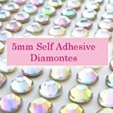 300 AB Clear Iridescent 5mm Acrylic Rhinestone Gems ~ Self Adhesive