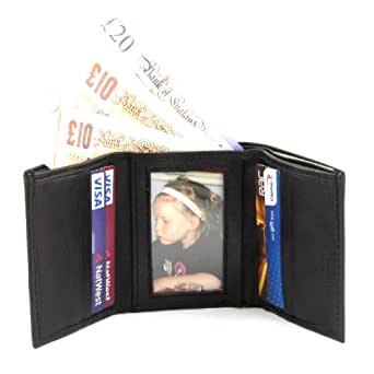 MENS SOFT BLACK LEATHER TRI-FOLD WALLET 6XCARDS 1XPHOTO 2XNOTES 2XEXTRA SLOTS