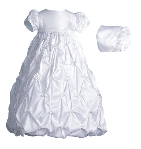 Lauren Madison baby girl Christening Baptism Newborn Taffeta Gown With Embroidery, White, 9-12 Months