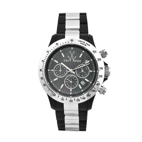 Toy Men's 11207-SL Heavy Metal Plasteramic Black Chronograph Mother-of-Pearl Dial Watch
