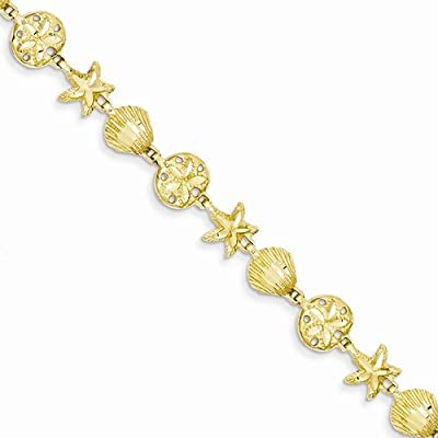 """Solid 14k Yellow Gold Sea Life Bracelet - with Secure Lobster Lock Clasp 7"""""""
