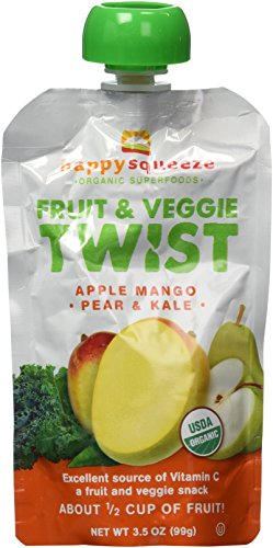 Happy Squeeze Organic Superfoods Fruit & Veggie Twist Apple Mango Pear & Kale 12 Pouches - 1