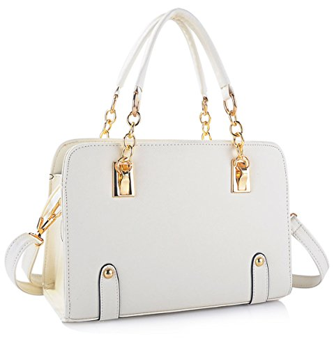 New Fashion Women's PU Leather Padlock Tote Handbag