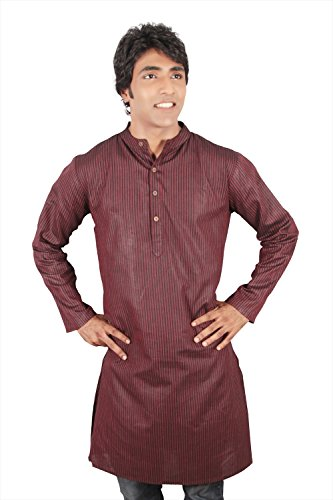 Indian Clothing Men's Long Kurta Tunic Banded Collar with Stripe Pattern