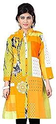 Fashionx Yellow Pure Cotton Printed Medium Length Kurti