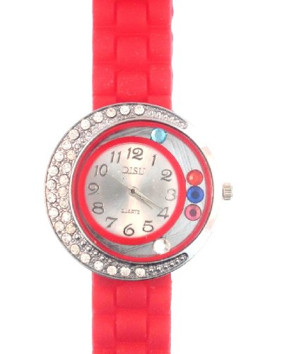 Bright Red Silicone Rubber Gel Watch Large Face Moving Colored Crystals With Half Crystal Bezel. Band Link Look Ceramic Style